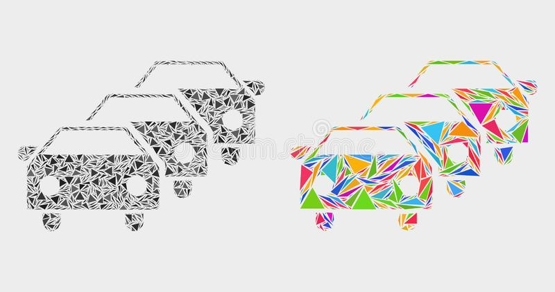 Vector Car Traffic Jam Mosaic Icon of Triangle Items. Car traffic jam mosaic icon of triangle elements which have different sizes and shapes and colors royalty free illustration