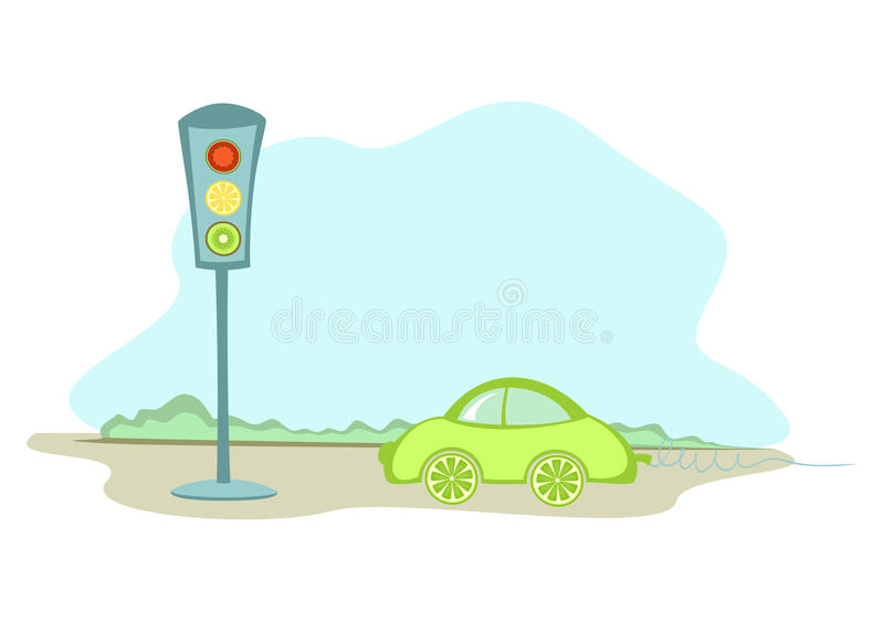 Download A car and a traffic lights stock vector. Illustration of yellow - 20993835