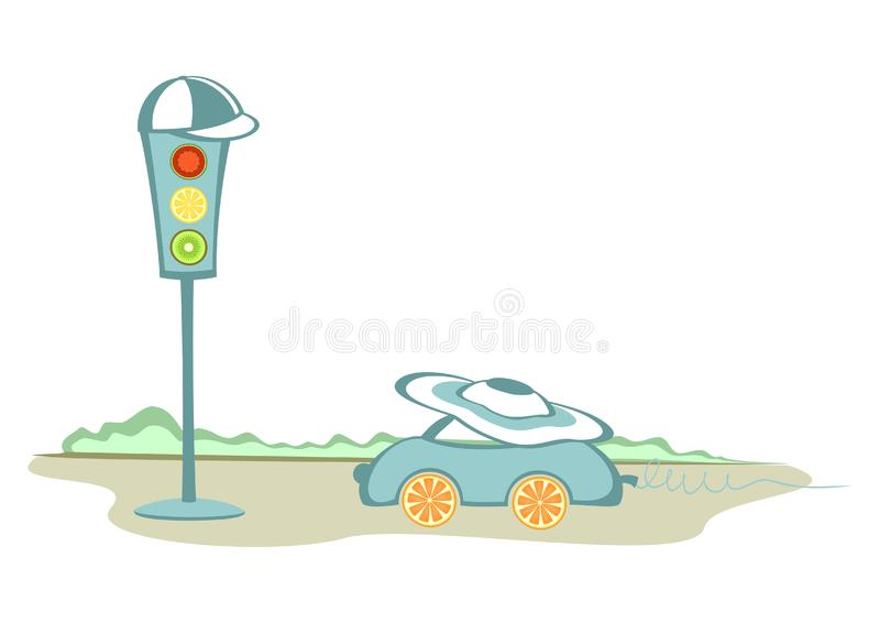Download A car and a traffic-lights stock vector. Illustration of circle - 21100239
