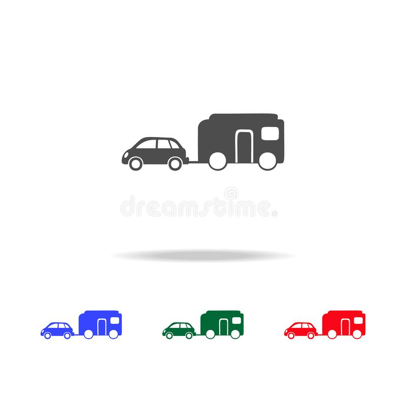 Car with trailer icons. Elements of transport element in multi colored icons. Premium quality graphic design icon. Simple icon. For websites, web design on stock illustration