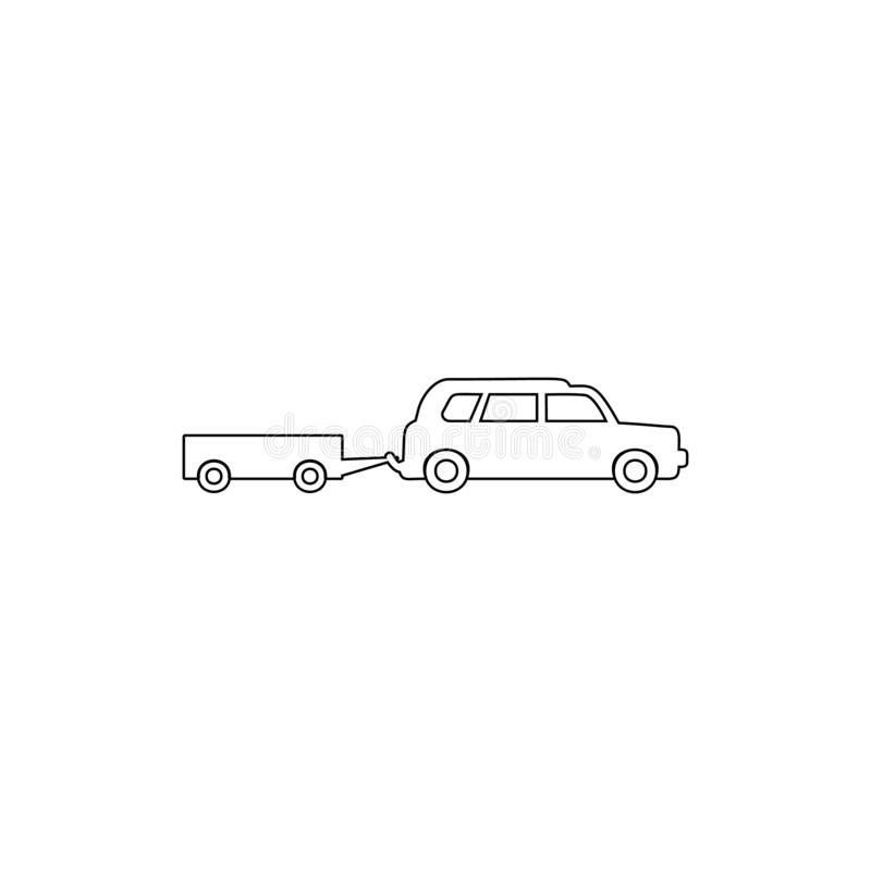 Car with a trailer outline icon. Element of car type icon. Premium quality graphic design icon. Signs and symbols collection icon. For websites, web design vector illustration
