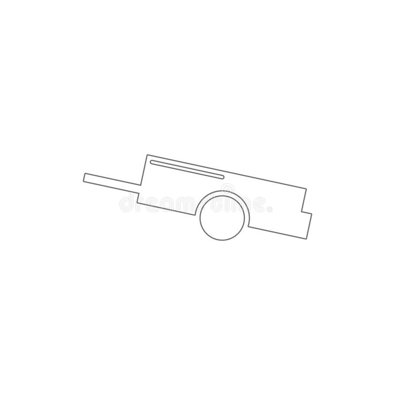 Car trailer outline icon. Elements of car repair illustration icon. Signs and symbols can be used for web, logo, mobile app, UI,. UX on white background stock illustration
