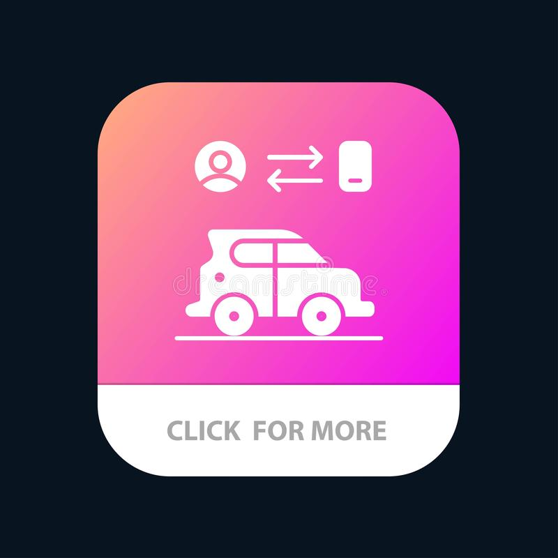Car, Transport, Man, Technology Mobile App Button. Android and IOS Glyph Version vector illustration