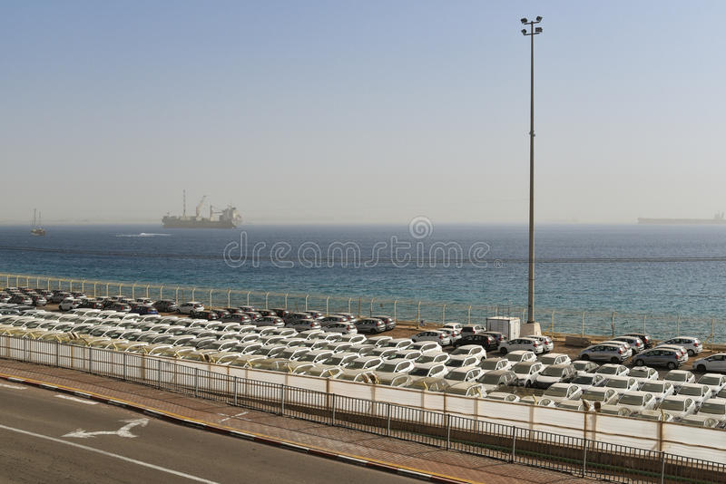 Car transportation, Eilat, Israel. Rows of new cars delivered to the cargo port in Eilat, Israel royalty free stock image