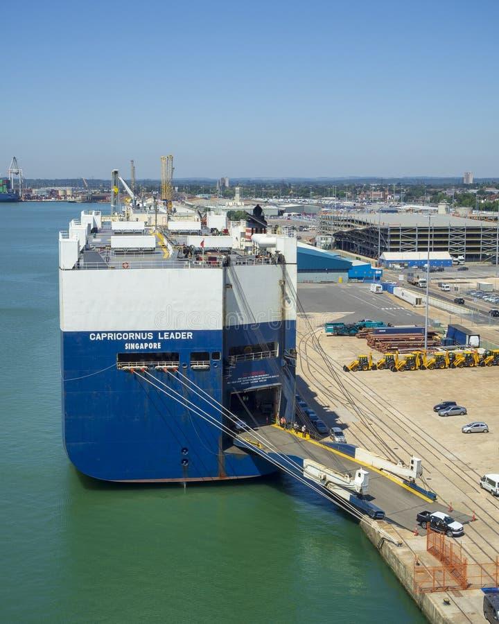 Car transporter ship Capricornus Leader stock image
