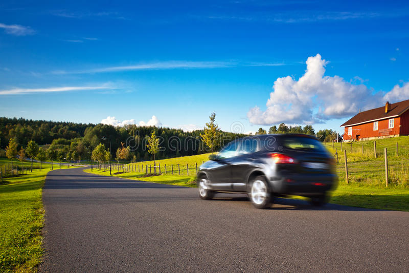 Car travel. Norway summer landscape royalty free stock photos