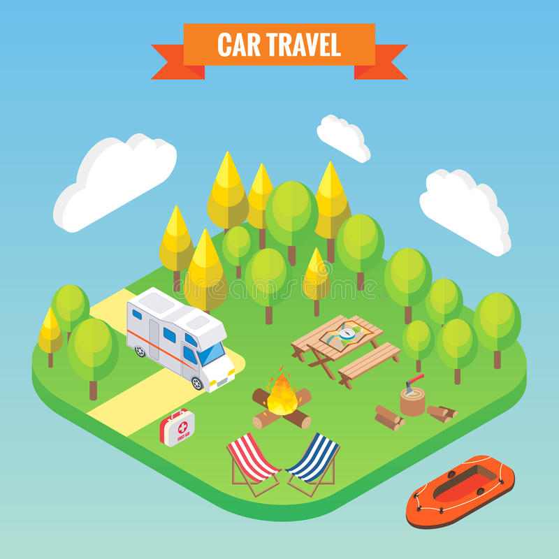 Car travel and camping isometric concept. Vector illustration in flat 3d style. Outdoor camp activity. Travel on camper royalty free illustration
