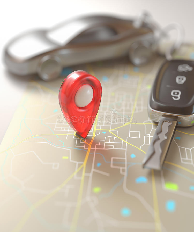 Car Travel Destination. Car key on the map with local points of travel royalty free stock photos
