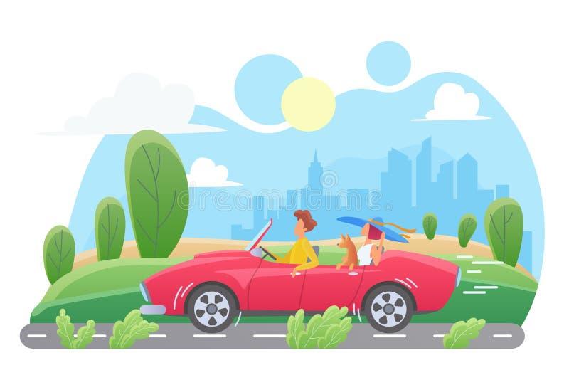 Car travel flat vector illustration stock illustration