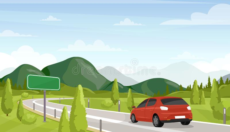Car travel, road trip flat vector illustration. Minivan on highway and empty, blank traffic sign. Scenic landscape vector illustration