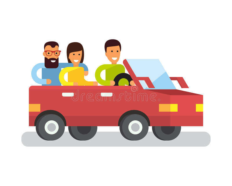 Car travel. Tourist trip traveling by automobile. Flat design illustration stock illustration