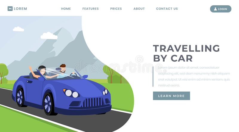 Car traveling landing page vector template. Personal transportation rental service website homepage interface idea with royalty free illustration