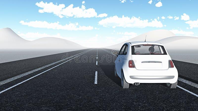 Car traveling a long way stock illustration