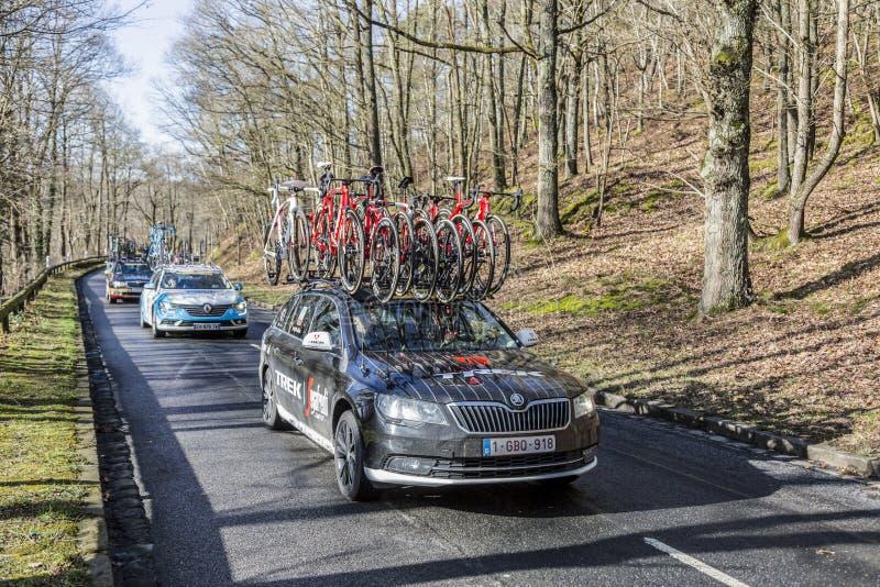 The Car of Trek-Segafredo Team - Paris-Nice 2017 royalty free stock images