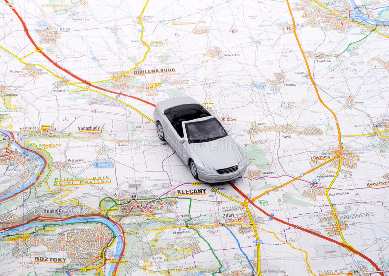 Car Trip. When a car trip is going to take place, the proper planning is necessary stock photography