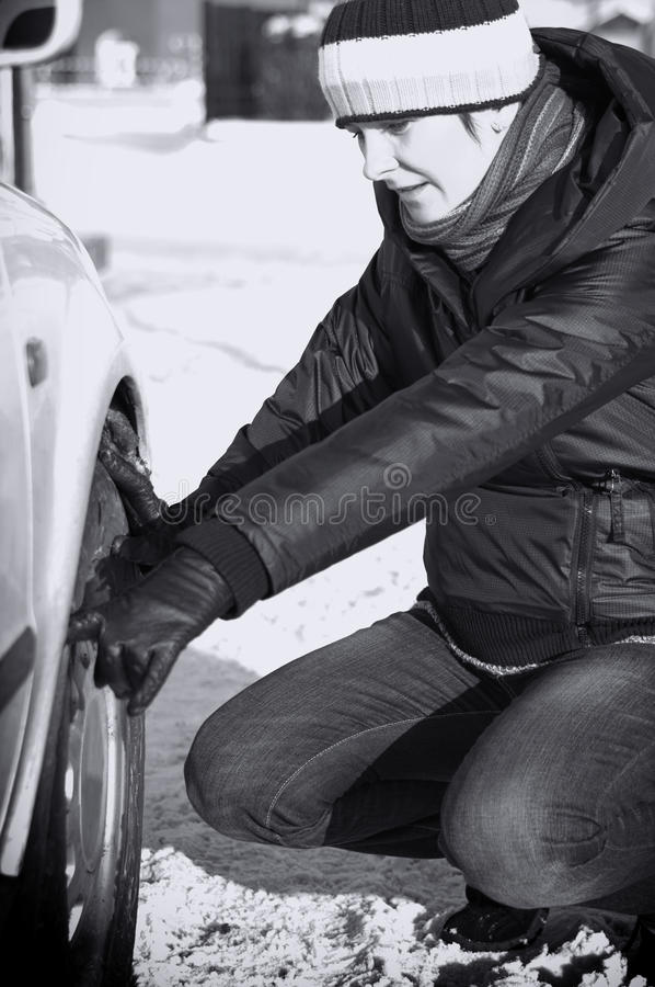 Car trouble in winter royalty free stock image