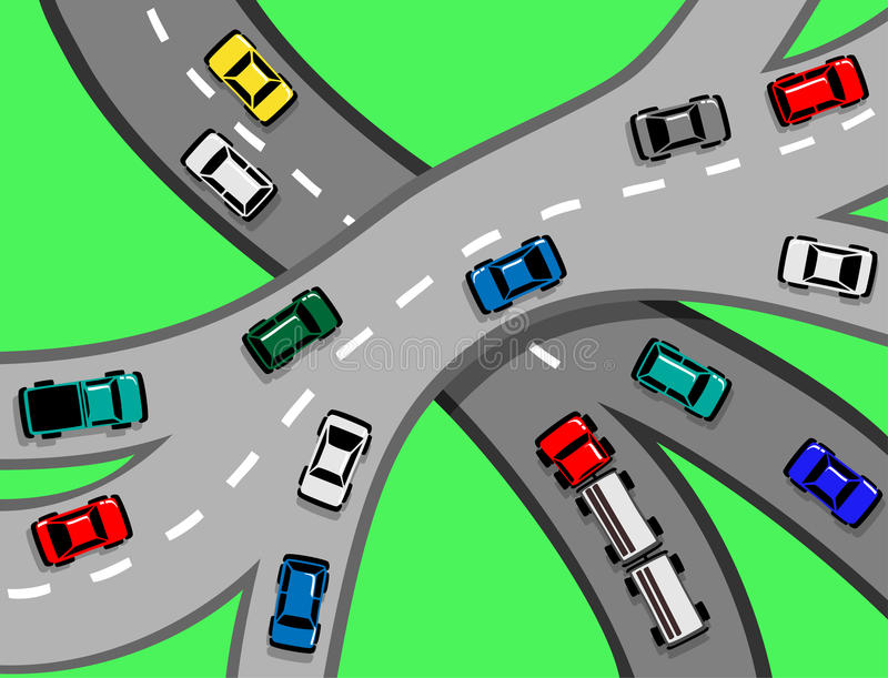 Car and Truck Traffic on Motorway royalty free illustration