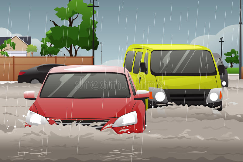 Car Trying to Drive Against Flood royalty free illustration