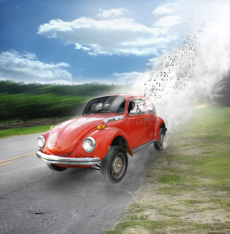 Car tunes. A orange volkswagen bug takes off with musical notes and smoke clouds coming from the window and the back of the car. Concept for fun nostalgic times stock photography