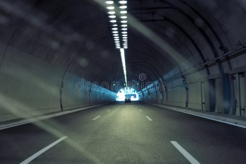Car in the tunnel royalty free stock photography