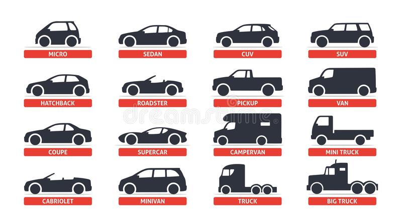 Car Type and Model Objects icons Set, automobile. Vector black illustration on white background with shadow. Variants of royalty free illustration