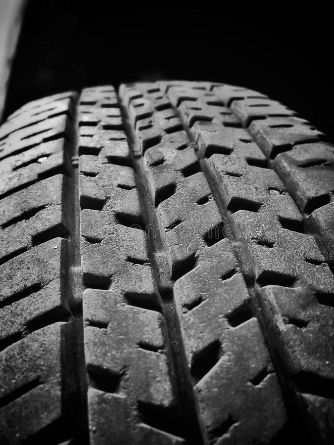 Car tyre with black and white stock image