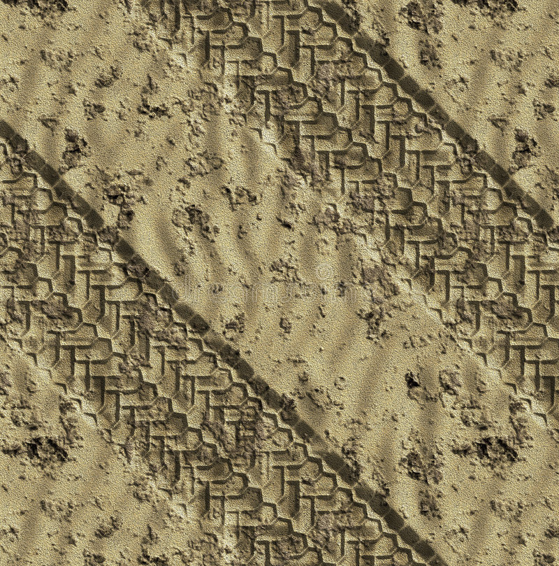 Car tyre tracks in sand. Pair of tye tracks go across the desert or beach sand stock illustration