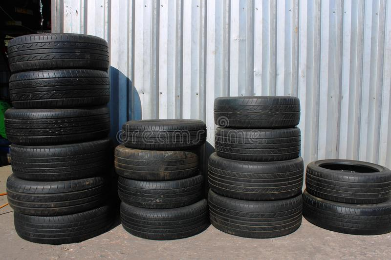 Car tyres stacked royalty free stock photos