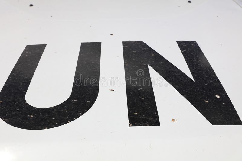Car of UN Peacekeeper on Mount Bental in the Golan Heights between Israel and Syria stock photos