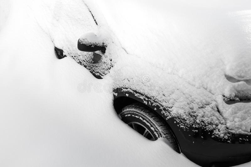 Car under the snow stock photography