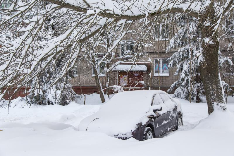 Car under snow stock image