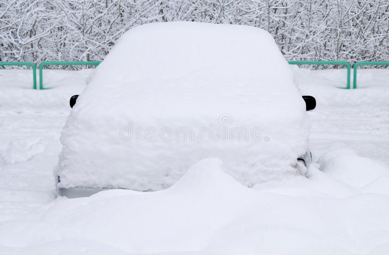 Car under the snow. royalty free stock image