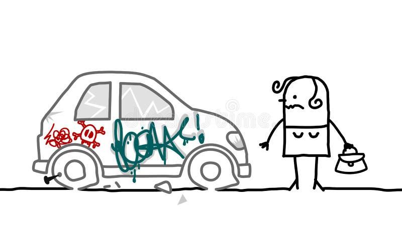 Car vandalized vector illustration