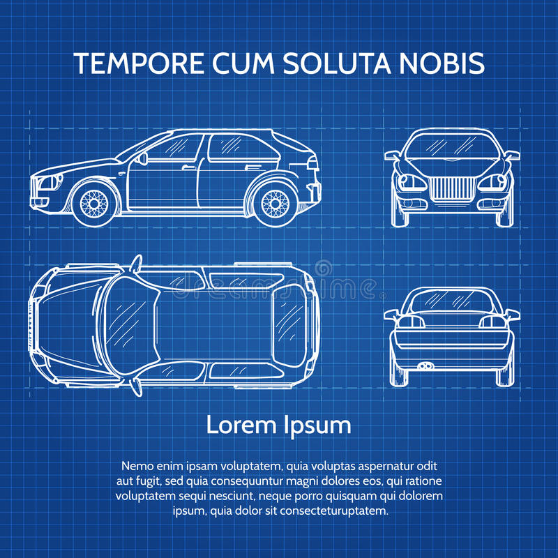 Car vector blueprint stock vector. Illustration of graphic - 67272140