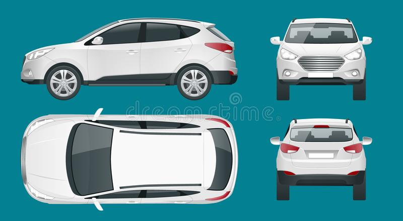 Car vector template on white background. Compact crossover, CUV, 5-door station wagon car. Template vector isolated vector illustration