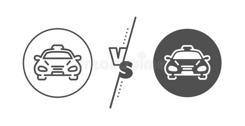 Taxi cab transport line icon. Car vehicle sign. Vector. Car vehicle sign. Versus concept. Taxi cab transport line icon. Taxicab driving symbol. Line vs classic vector illustration