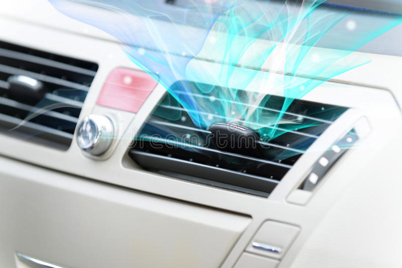 Car ventilation system. Concept of fresh air coming out from car ventilation system stock photography
