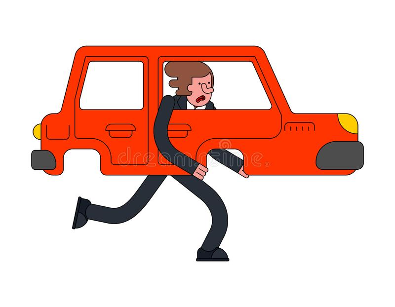 Car is walking leg. auto with legs.  royalty free illustration