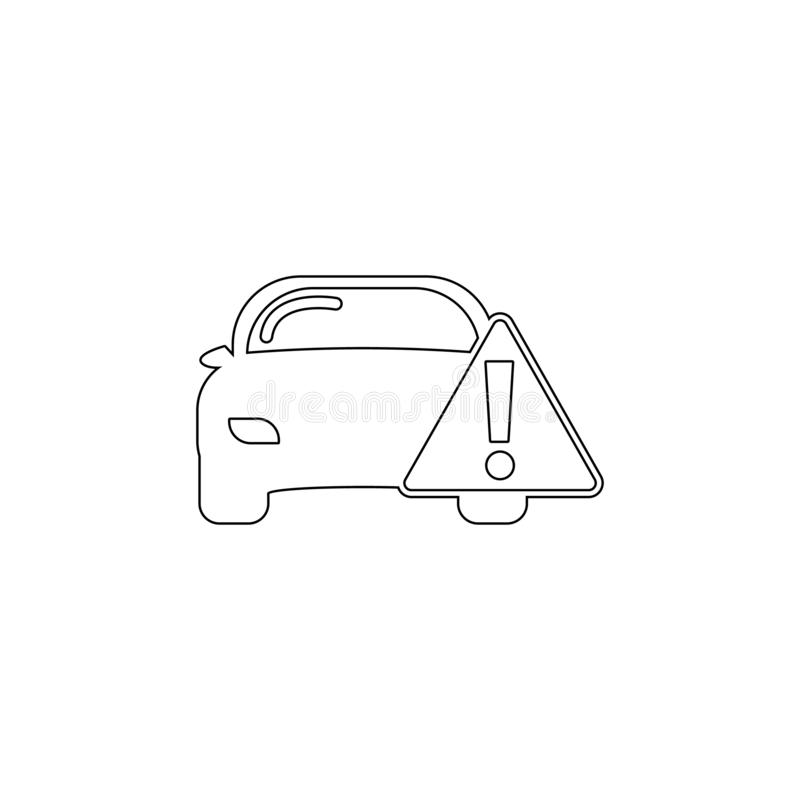 Car warning outline icon. Elements of car repair illustration icon. Signs and symbols can be used for web, logo, mobile app, UI,. UX on white background royalty free illustration