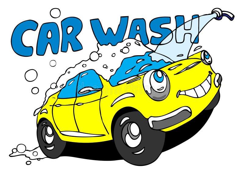 Car wash. Hand drawn cartoon car taking a bath