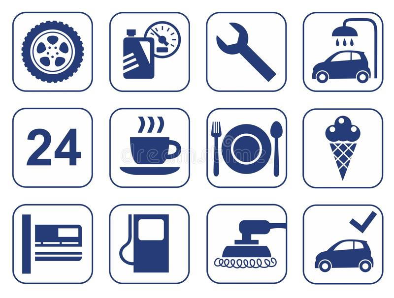 Car wash, auto repair, tire service, cafe, icons, monochrome, flat. royalty free illustration