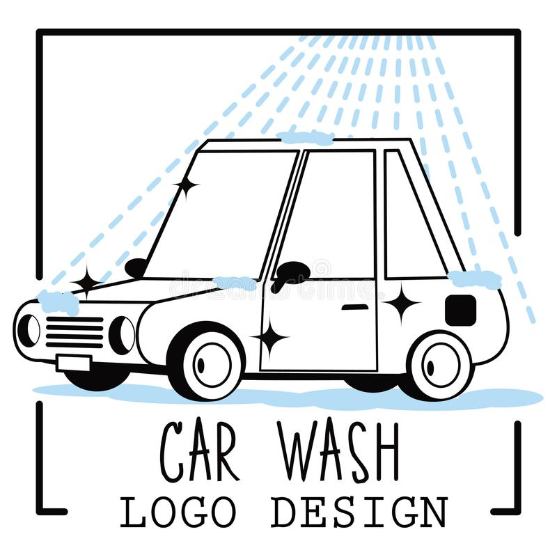Car wash cartoon logo on light background stock illustration