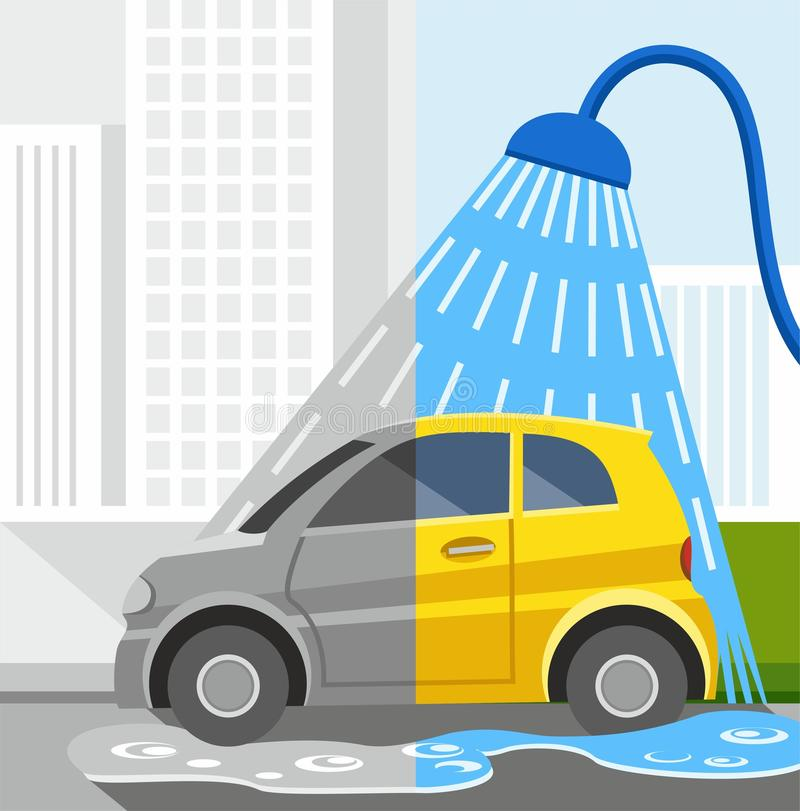 Free Car Wash, Coloured Illustrations, Dirty Car, Clean Car. Royalty Free Stock Photo - 57282175