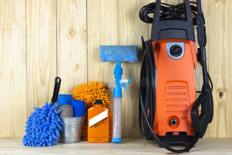 Car wash equipment or car cleaning product such as microfiber tank and pressure washer and glass cleaner and brush with mitts and stock photography