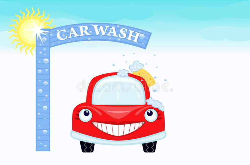 Car wash with happy auto. Car wash with happy car and blue sky. Vector illustration saved as EPS AI8 is now pending inspection stock illustration