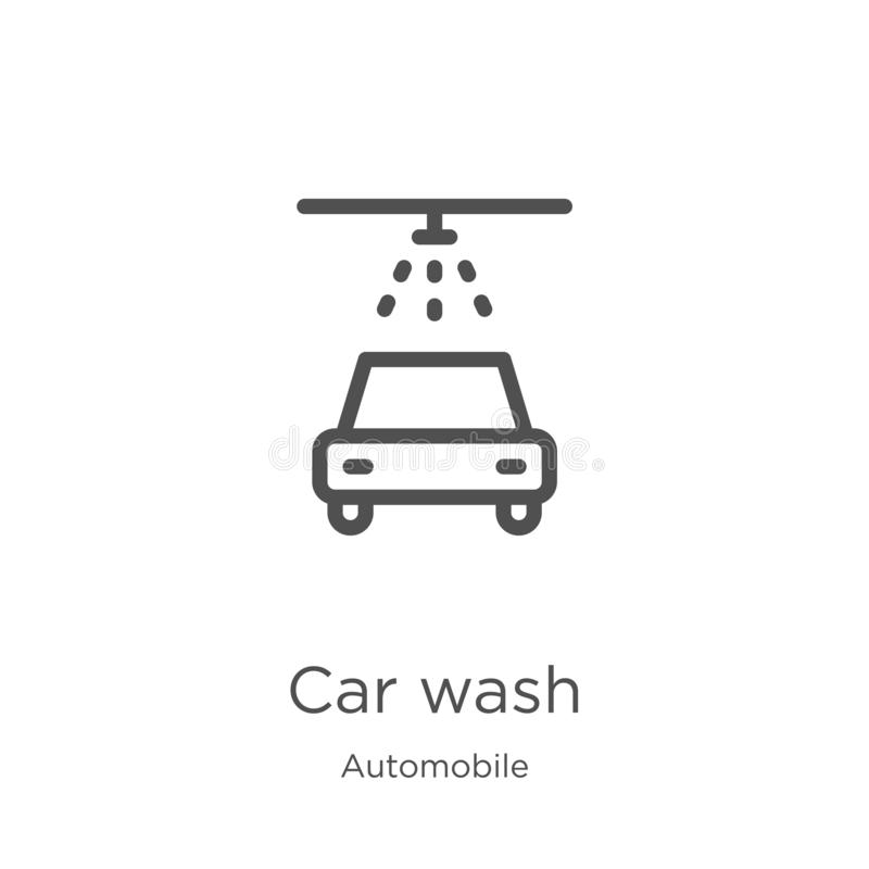 car wash icon vector from automobile collection. Thin line car wash outline icon vector illustration. Outline, thin line car wash royalty free illustration