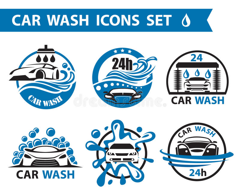 Car wash icons set stock illustration