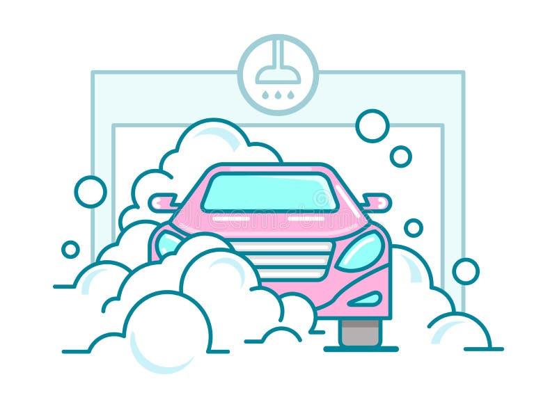 Car wash linear design royalty free illustration
