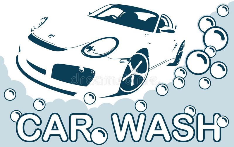 Car Wash Logo - Clean Car. Abstract Lines Logo. vector illustration royalty free illustration