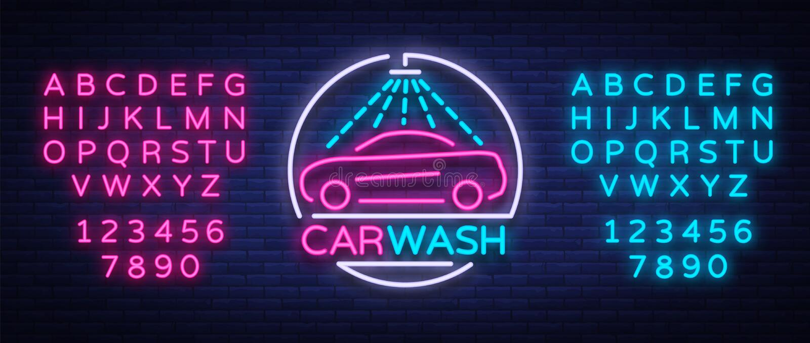 Car wash logo design emblem in neon style vector illustration. Template, concept, luminous sign on the theme of washing. Cars. Editing text neon sign. Neon stock illustration